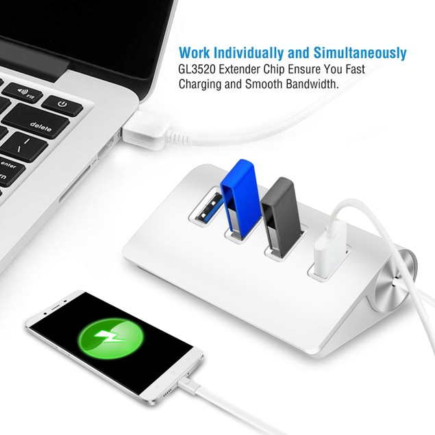 4 Ports USB3.0 Hub 5Gbps USB3.0 Aluminum Expansion Hub