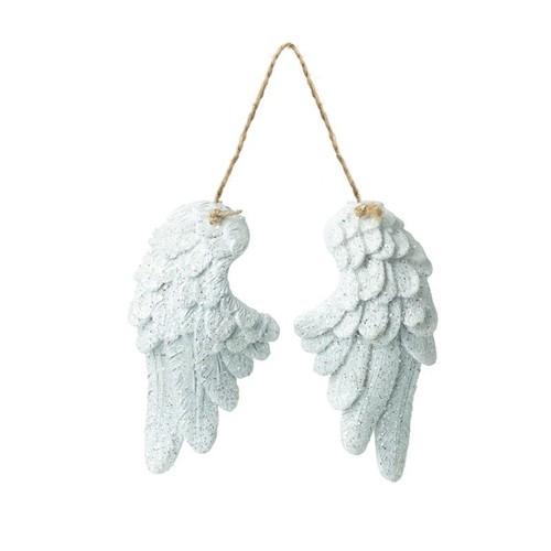 Hanging White Glitter Wings