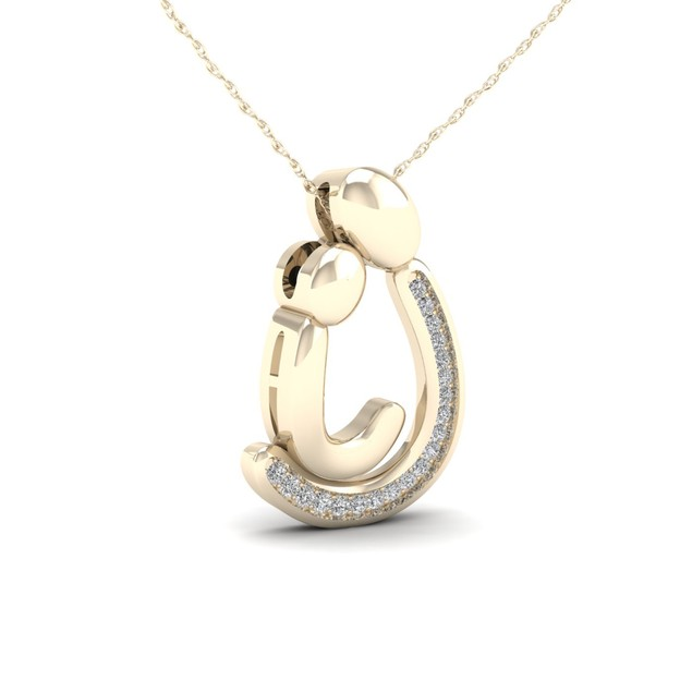 De Couer 10KT Yellow Gold 1/20ct TDW Diamond Motherly Love Necklace I-J,I2