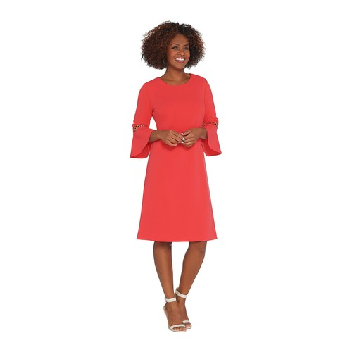 Dennis Basso Luxe Crepe Dress with Trimmed Flounce Sleeves, Plus 22, Coral
