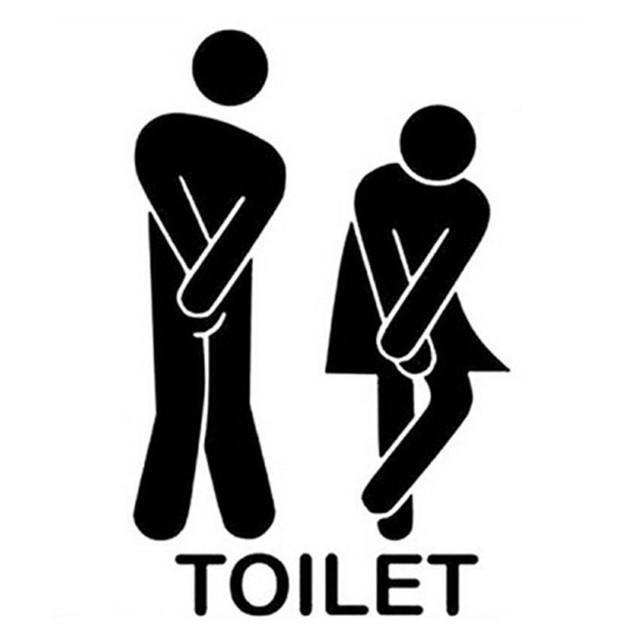 Removable Cute Man Woman Washroom Toilet WC Sticker