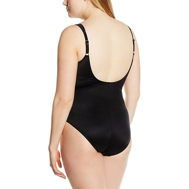 Miraclesuit Women's One Piece Surplice Swimsuit Black/White Sz:  14
