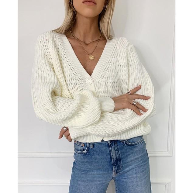 Women's V-Neck Lantern Sleeve Button Knit Cardigan