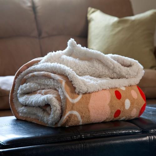 Lavish Home Fleece Sherpa Blanket Throw - Red Hearts