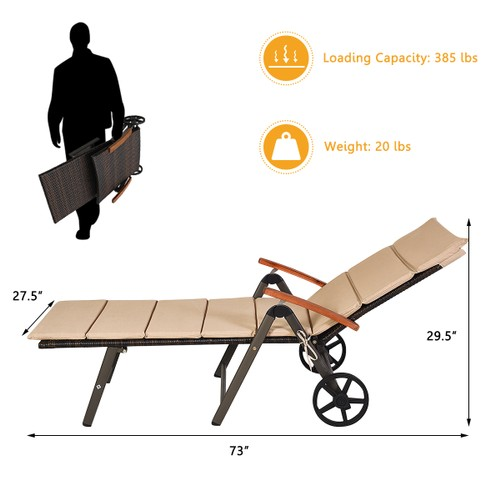 Costway Aluminum Rattan Lounger Recliner 5-Position Adjustable Chair Turquo