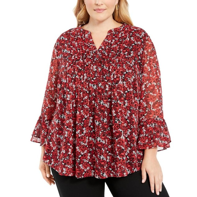 Charter Club Women's Floral Pintuck Top  Red Size XX Large