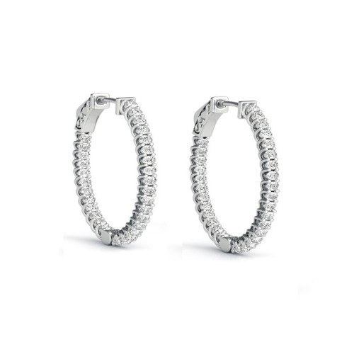 Sterling Silver 25mm Insidout Cubic Zircon Pave Hinge Setting Hoop Earring