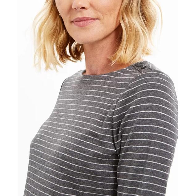 Charter Club Women's Petite Metallic Striped Top Gray Size 44