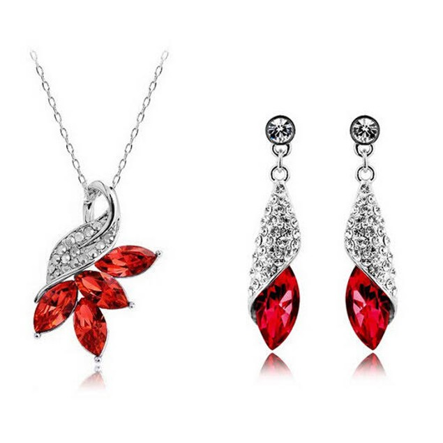 4 Stone Necklace and Earring Set