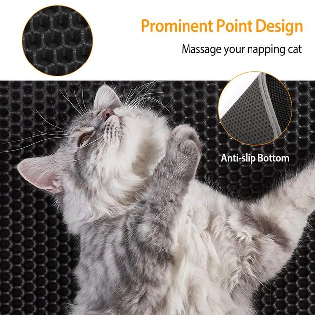 Cat Litter Mat EVA Honeycomb Double Layer Kitty Litter Trapping Carpet