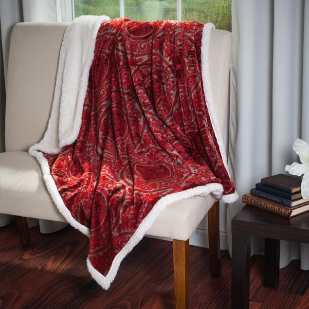 Lavish Home Printed Coral Soft Fleece Sherpa Throw Blanket