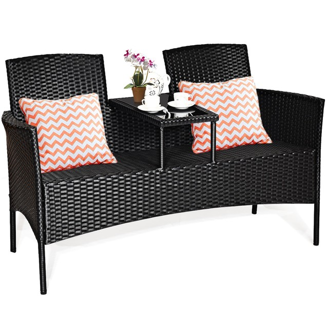 Costway Patio Rattan Conversation Set Seat W/ Glass Table