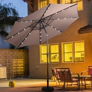 10ft Patio Solar LED Umbrella w/ Crank