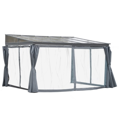 Backyard Patio/Porch Cabana w/ Durable Aluminum Roof & Netted Curtain