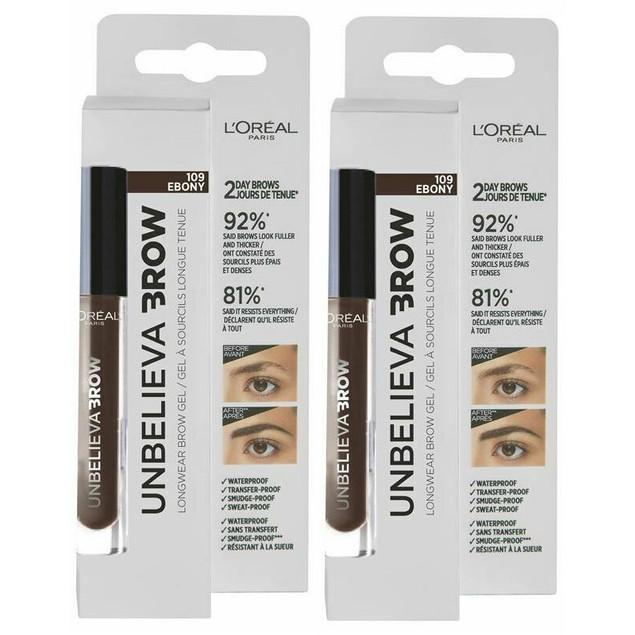 2-Pack L'Oreal Unbelieva Brow Longwear Brow Gel, 109 Ebony