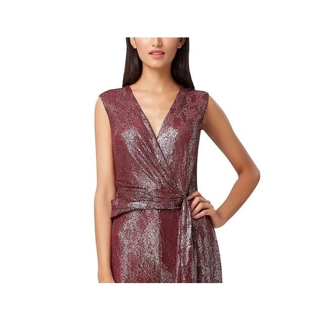 Tahari Asl Women's Foil Lace Jumpsuit Brght Orange Size 4