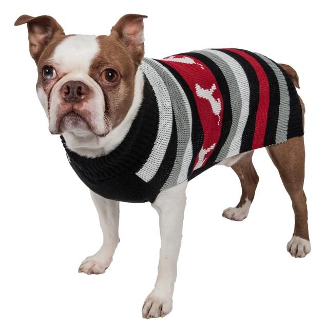 Dog Patterned Stripe Fashion Ribbed Turtle Neck Pet Sweater