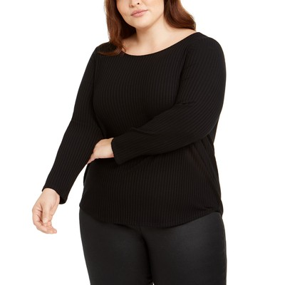 Eileen Fisher Women's Plus Size Ballet-Neck Top Black Size 1X