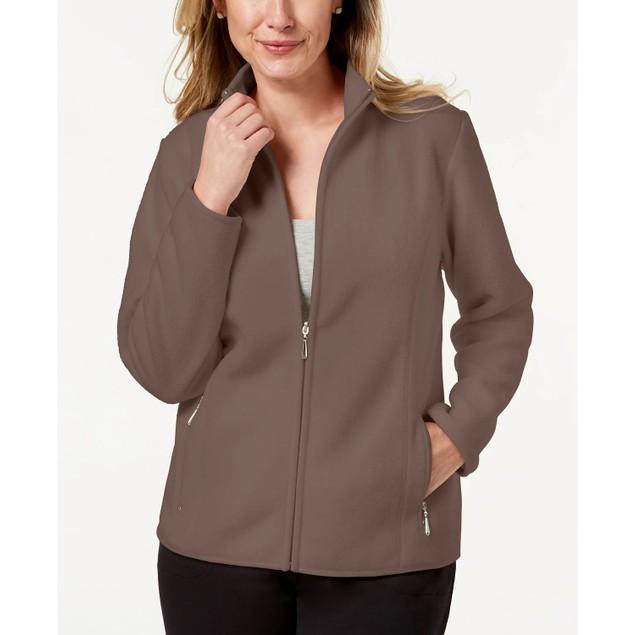 Karen Scott Women's Petite Zeroproof Fleece Jacket Brown Size Petite
