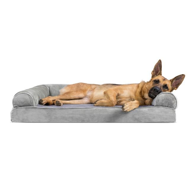 FurHaven Faux Fur & Velvet Memory Foam Sofa Pet Bed