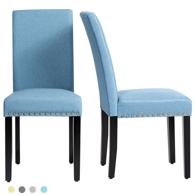 Costway Set of 2 Fabric Dining Chairs Upholstered with Nailhead Trim