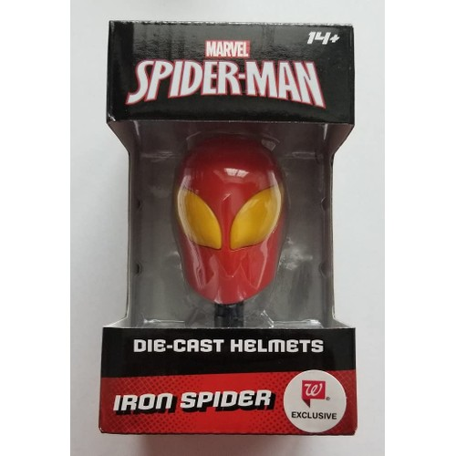 Marvel Die-Cast Avengers Collectible Metal Iron Spider Mini Helmet, Red