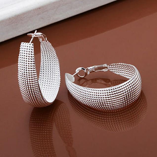 1 Pair Women Fashion Enclosure Hoop Earrings