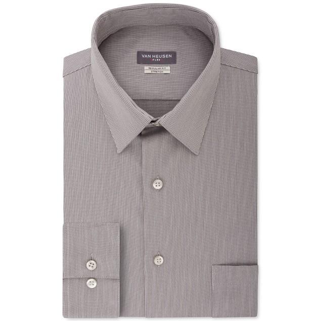 Van Heusen Men's Fit Flex Collar Stripe Dress Shirt Gray Size 36-37