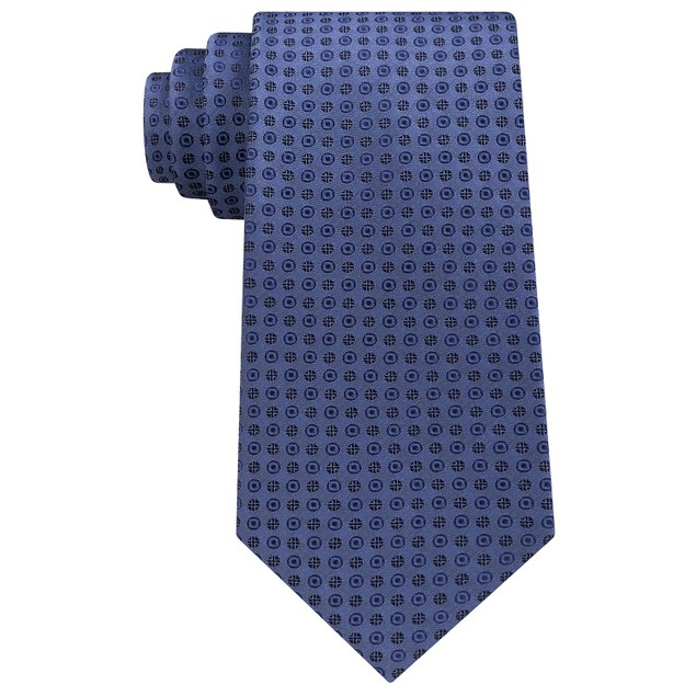 Calvin Klein Men's Mini Bullseye Slim Silk Tie Navy Size Regular