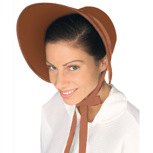 Brown Felt Bonnet Colonial Pilgrim Quaker Amish Pioneer Prairie Hat Adult