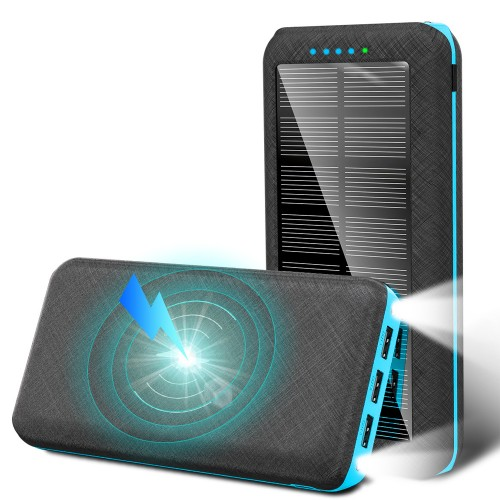Solar Power Bank 20000mAh Portable Wireless Charger 3 USB Outputs with Flashlight