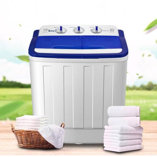 16Lbs Semi-automatic Twin Tube Washing Machine US Standard White & Blue