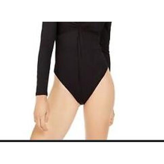Bar III Women's Twisted Thong Bodysuit Black Size X-Large