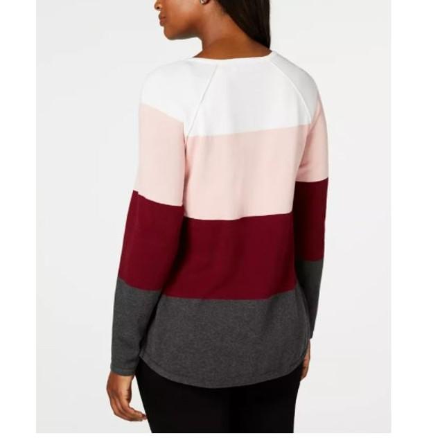 Karen Scott Women's Colorblocked Pullover Sweater Red Size Small