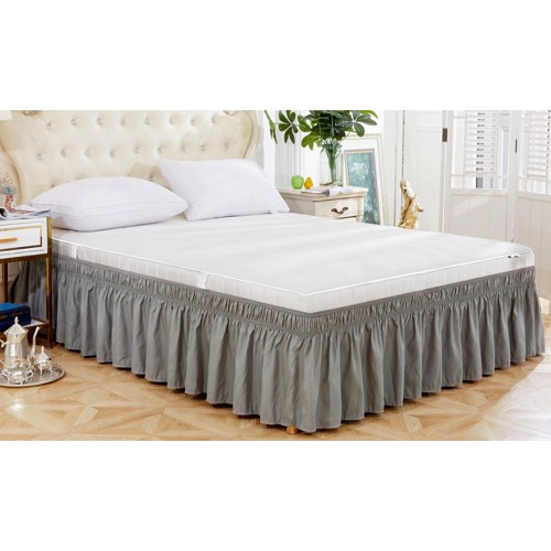 Ruffled Bed Skirts - Sides Elastic Wrap Around Dust Ruffled Solid Colours Easy On/Easy Off