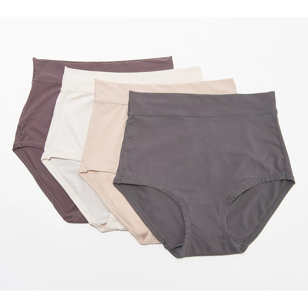 Breezies Infinite Full Coverage Stretch Modern Brief Set, 4 Count, 1x, Nude