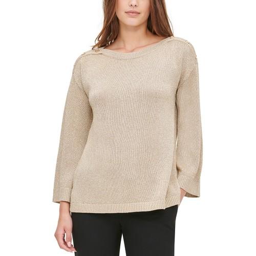 Calvin Klein Women's Button-Shoulder Metallic Sweater Gold Size Extra Large