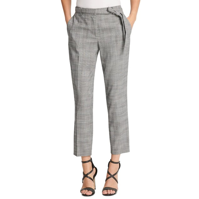 DKNY Women's Petite Belted Essex Ankle Plaid Pant Gray Size 0.6