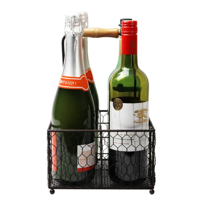 4 Bottle Holder with Wooden Handle | MandW