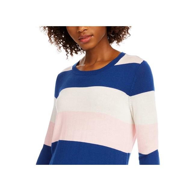 Maison Jules Women's Striped Sweater Dark Pink Size Large