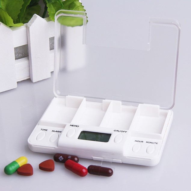 Portable 4 Grid LCD Digital Pill Organizer Tablets Case Box Reminder