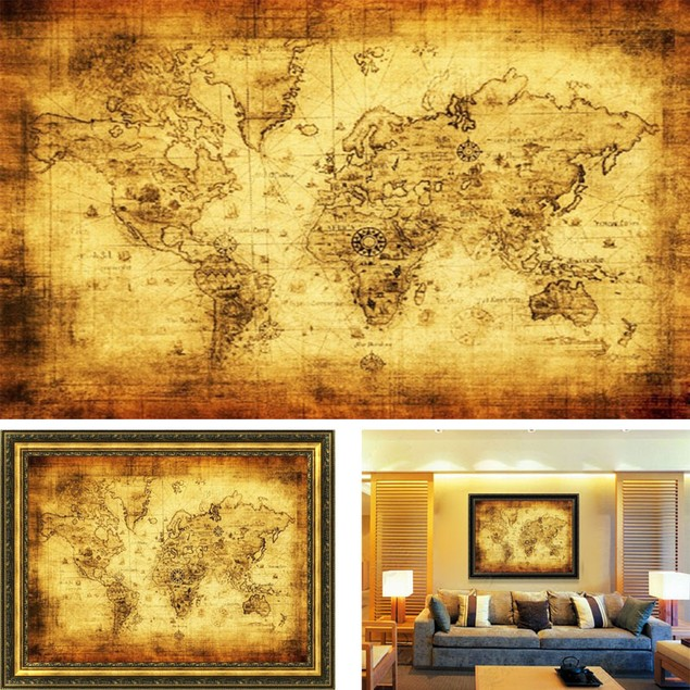 Vintage Style Retro Cloth Poster Globe Old World Nautical Map