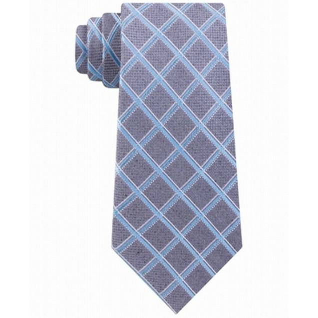 Michael Kors Men's Asymmetric Grid Tie Blue Size Regular