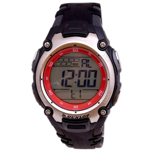 Dunlop Digital Watch for Men DUN45G07 Silver/Red Plastic Case Rubber Black Strap