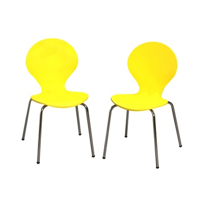 Gift Mark Childrens 2 Chair Set With Chrome Legs (Yellow Color)