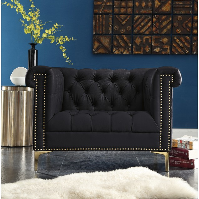 Dwight PU Leather Button Tufted with Gold Nailhead Trim Club Chair