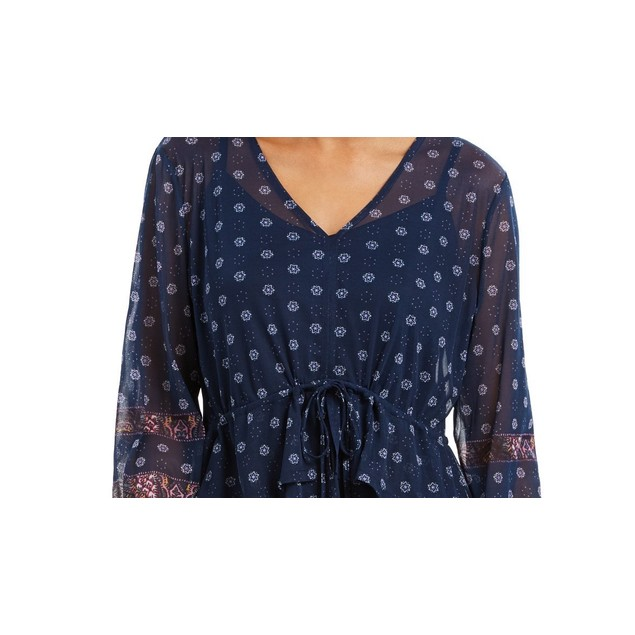 Style & Co Women's Tie-Front Floral Print Peasant Blouse Navy Size Large