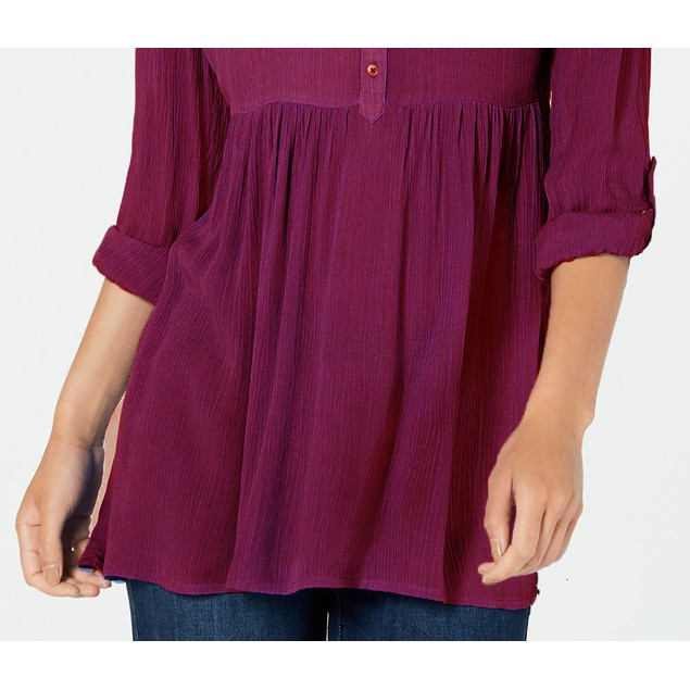 Style & Co Women's Roll-Sleeve Oversized Shirt Red Size Medium