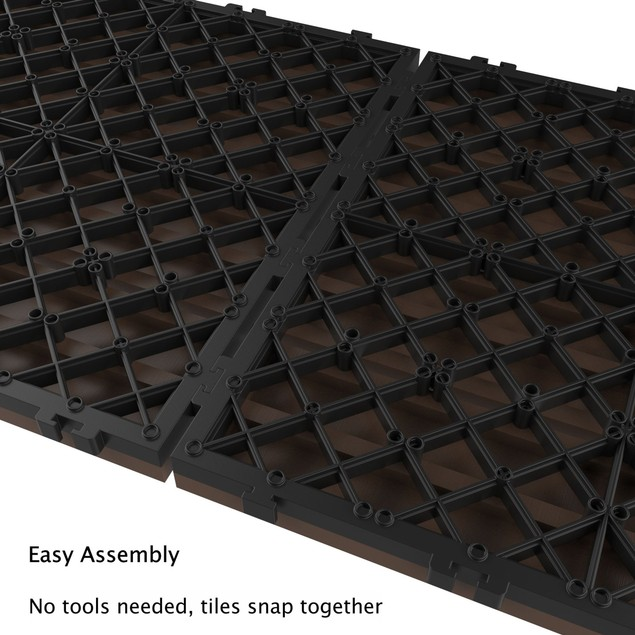 Set of 6 Patio and Deck Tiles Slat Pattern Outdoor Pavers