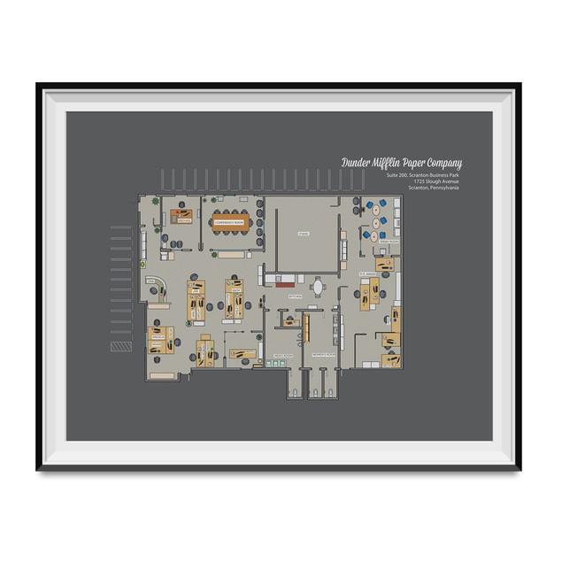Dunder Mifflin Paper Company Floor Plan Poster 11 x 17